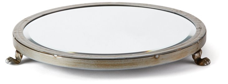 "14"" Footed Mirror Tray, Antiqued Brown"