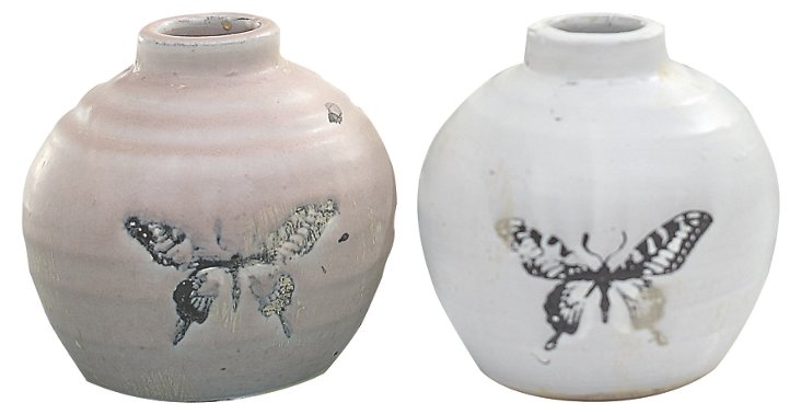 Terracotta Butterfly Vases, Asst. of 2
