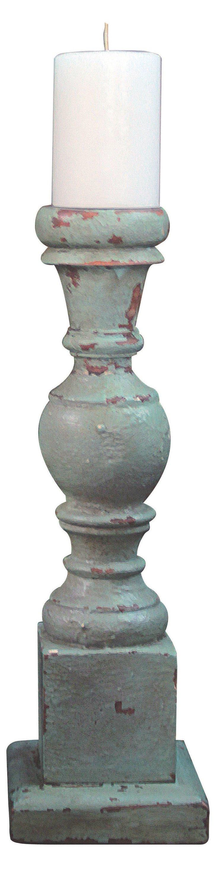 "18"" Hand-Carved Mango Wood Candleholder"