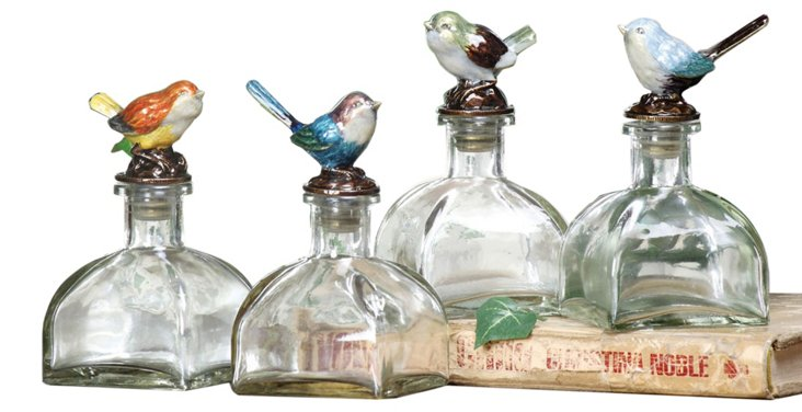 Asst. of 4 Glass Bird Bottles