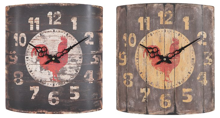 Rooster Wall Clocks, Set of 2
