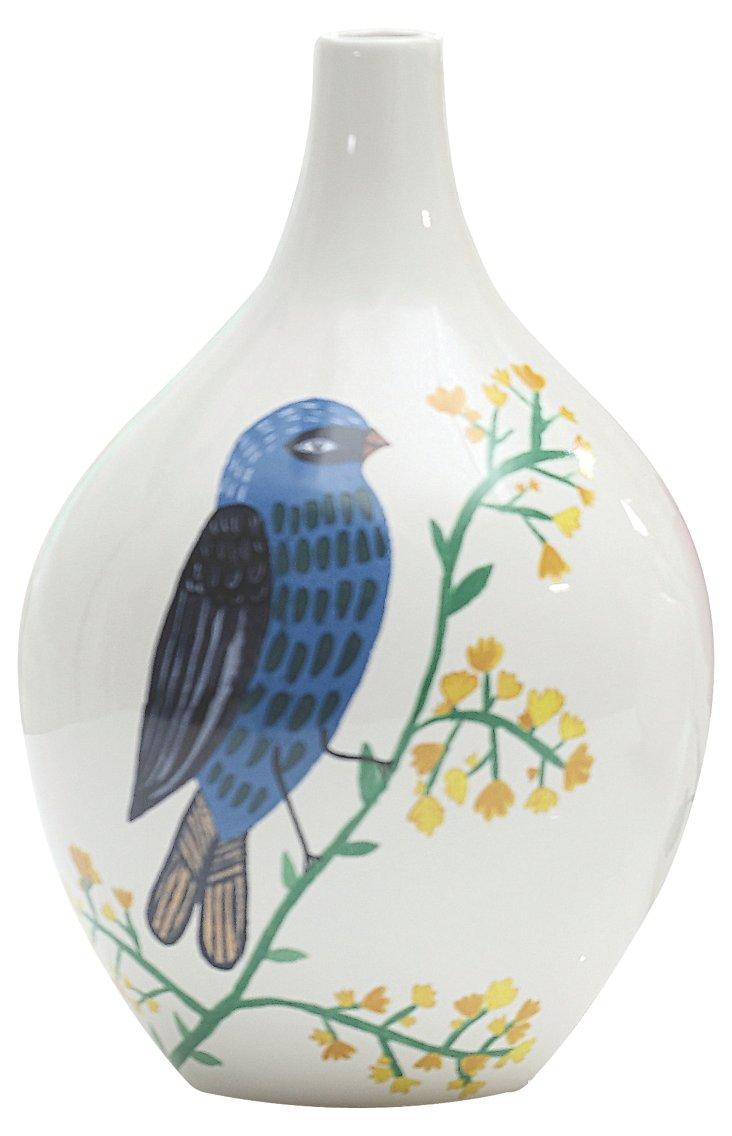 """9"""" Songbird Vase, Blue"""