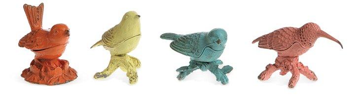 Pewter Bird Boxes, Asst. of 4