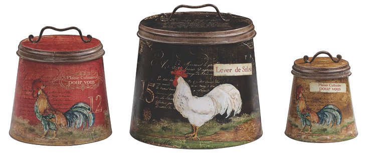 Flared Rooster Canisters, Asst. of 3