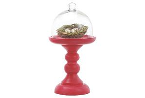 "13"" Fuchsia Pedestal w/ Glass Cloche"
