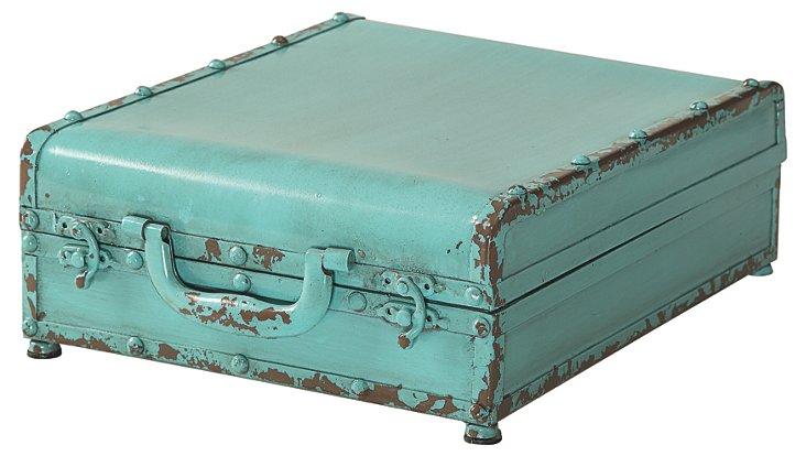 13x10 Folding Trunk w/ Mirror, Aqua