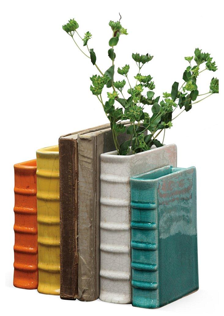 Asst. of 2 Terracotta Book Vases, Multi