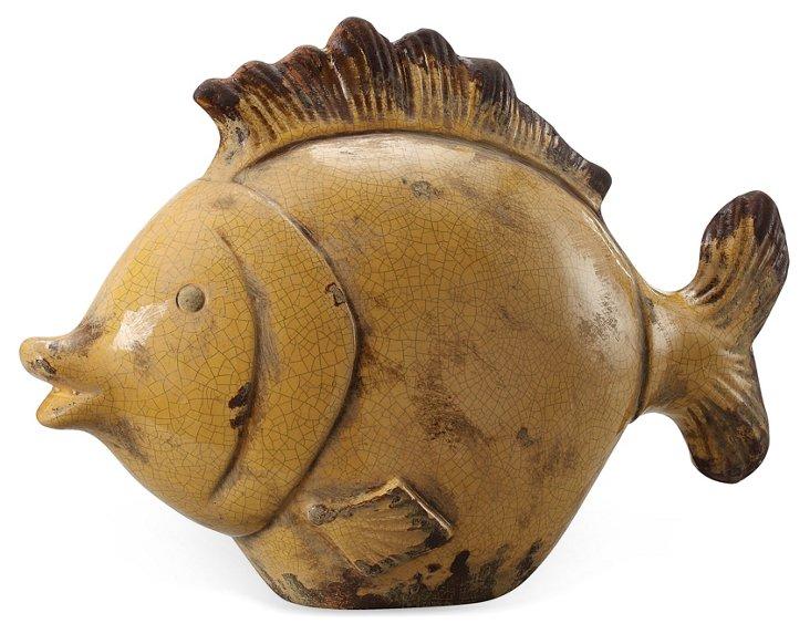 """15"""" Stoneware Fish, Yellow"""