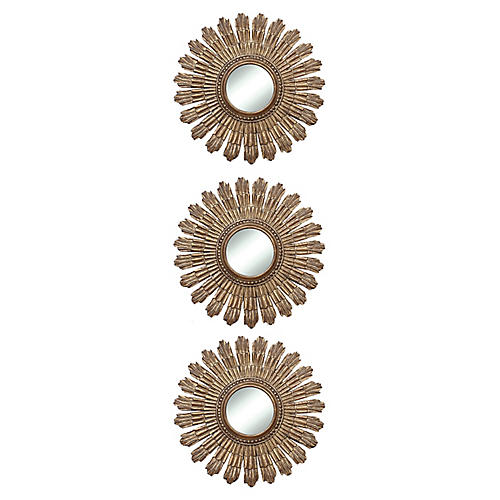 "Round 13"" Sunburst Mirror, Set of 3"