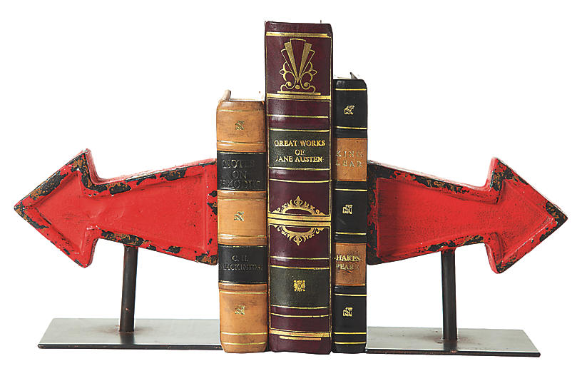Pair of Arrow Bookends, Red