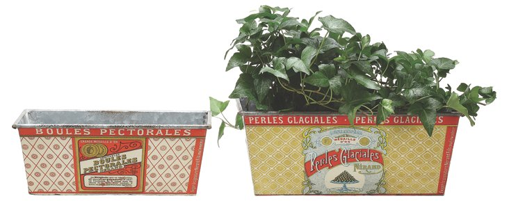 Asst. of 2 French Tin Planters