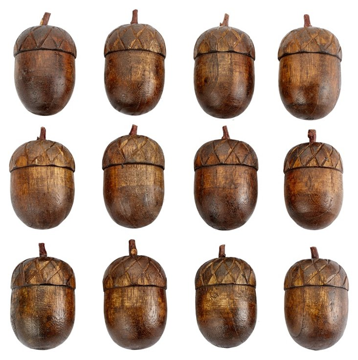 S/12 Carved Wood Acorns, Brown