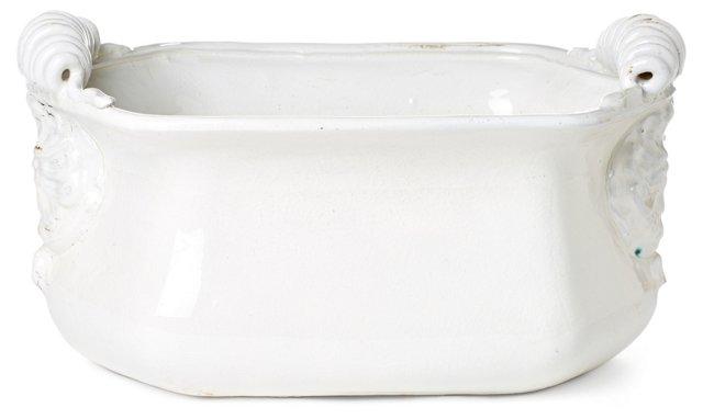 """16"""" Terracotta Cachepot, White"""