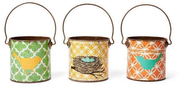 Asst. of 3 Bird Buckets, Multi