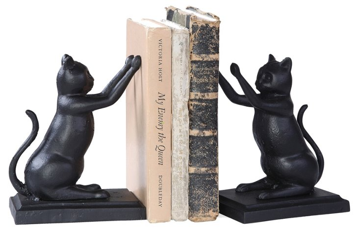Pair of Cat Bookends, Black
