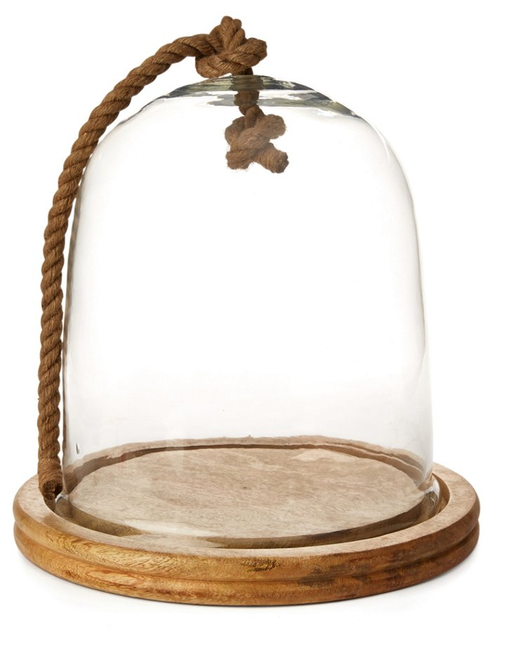"14"" Glass & Wood Cloche w/ Rope"