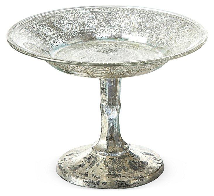 "Silvered Glass Pedestal, 8"""