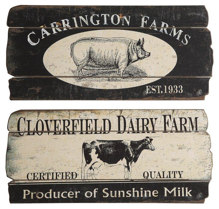 S/2 Asst. Dairy Farm Plaques