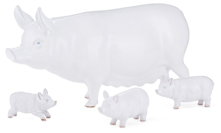 Asst. of 4 Terracotta Pig Family, White