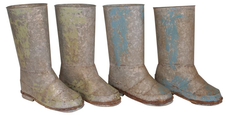 Distressed Boot Planters, Asst. of 4