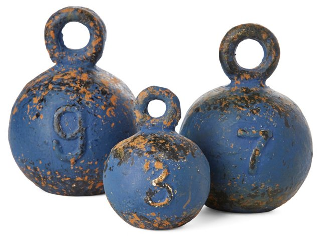 Asst. of 3 Weathered Weights, Blue