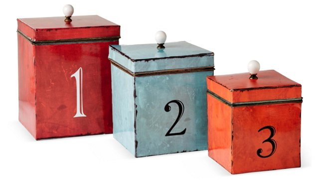Asst. of 3 Numbered Tin Boxes, Multi