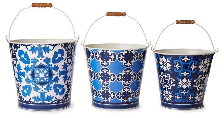 Asst. of 3, Patterned Tin Baskets, Blue