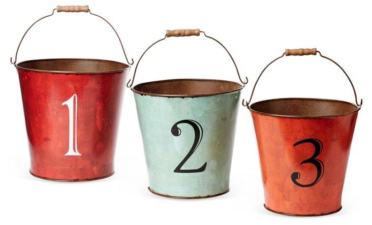 """Asst. of 3 11"""" Number Tin Baskets"""