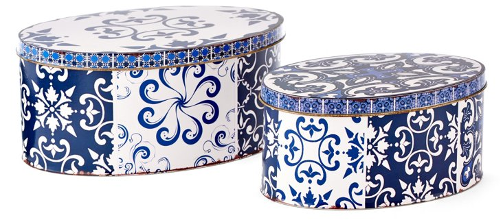 Asst. of 2 Patterned Tin Boxes, Blue
