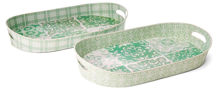 S/2 Patterned Tin Oval Trays, Green