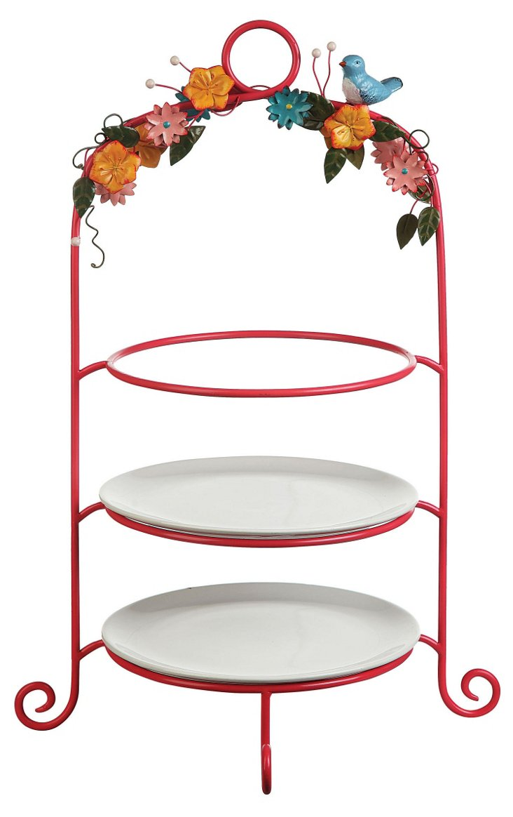 "15"" 3-Tier Cake Stand, Pink"