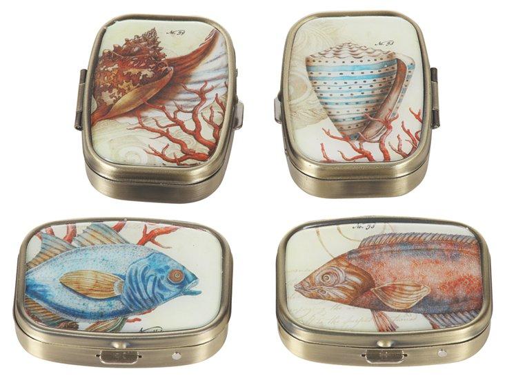 Fish Pill Boxes, Asst. of 4