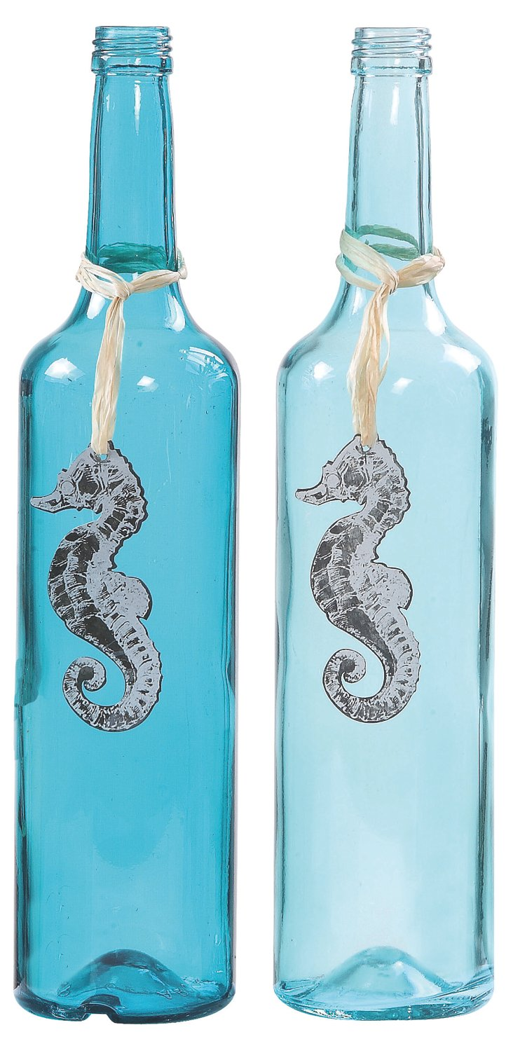 Asst. of 2 Glass Bottles w/ Seahorses