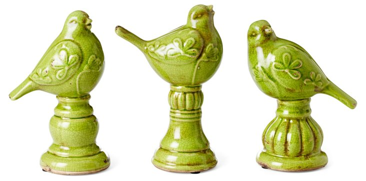 Asst. of 3 Bird Finials, Green