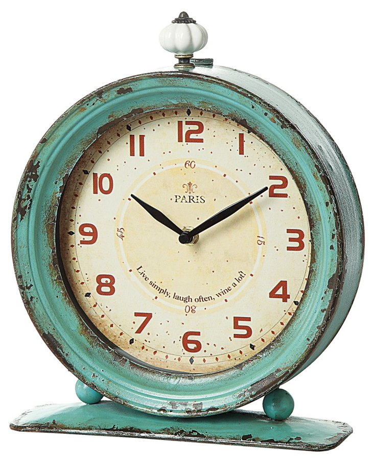 """12"""" Metal Clock, Aqua"""