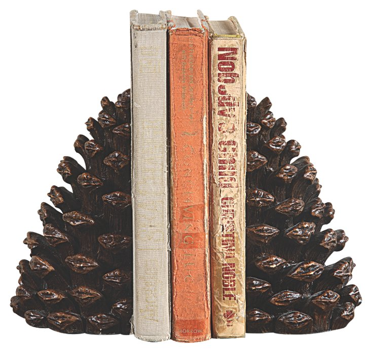 "Pair of 7"" Pinecone Bookends, Brown"