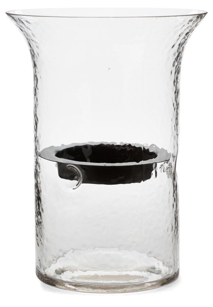 """10"""" Glass Pillar Candleholder"""