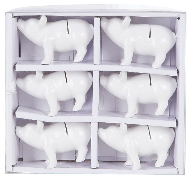 S/6 Ceramic Pig Place Card Holders