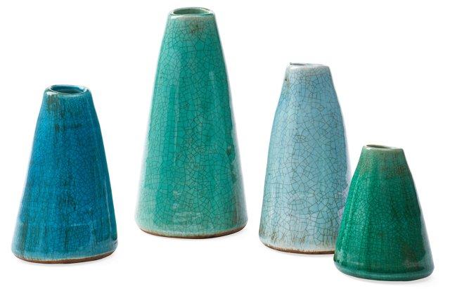 Asst. of 4 Terracotta Vases, Blue/Green