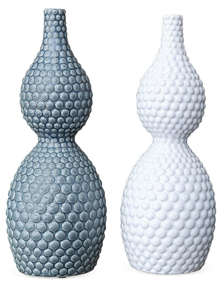 "Asst. of 2 16"" Textured Stoneware Vases"