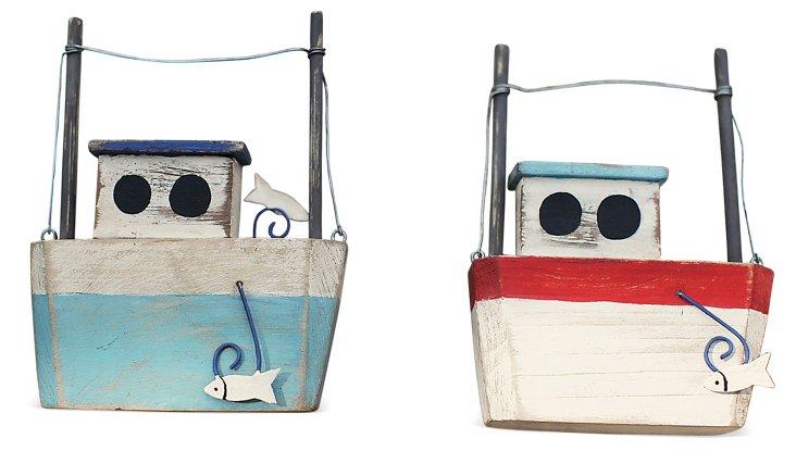 "Asst. of 2 6"" Wooden Fish Boats"
