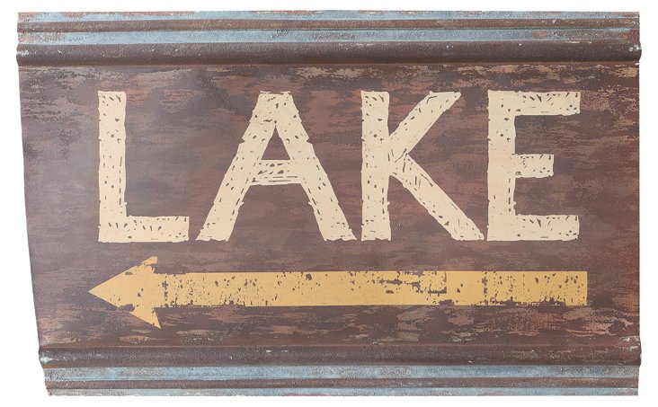"26"" Metal Lake Sign, Brown"
