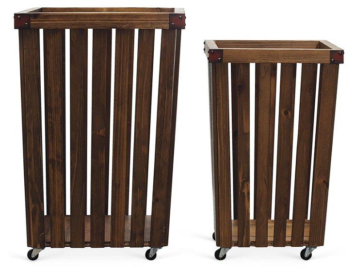 S/2 Rolling Wood Baskets