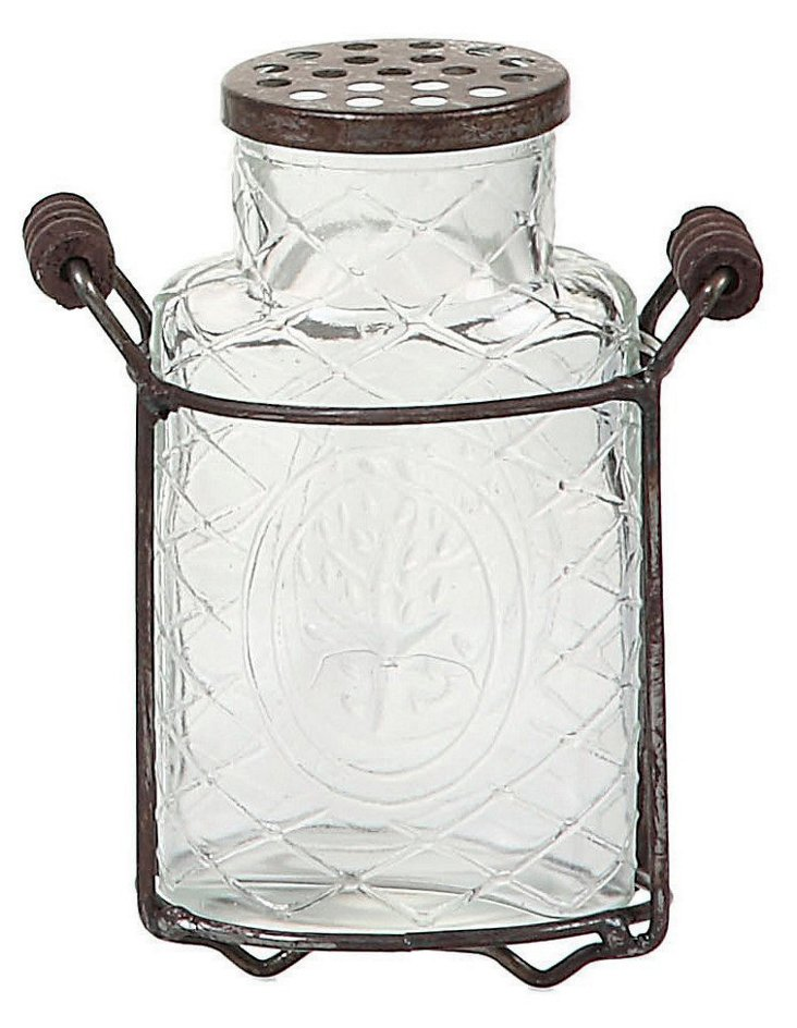 "6"" Glass & Metal Vase, Clear/Brown"