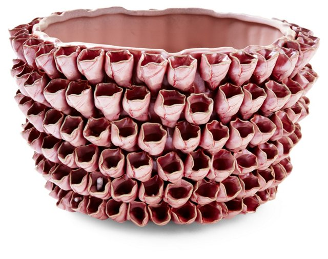"""10"""" Ceramic Rose Planter, Pink"""