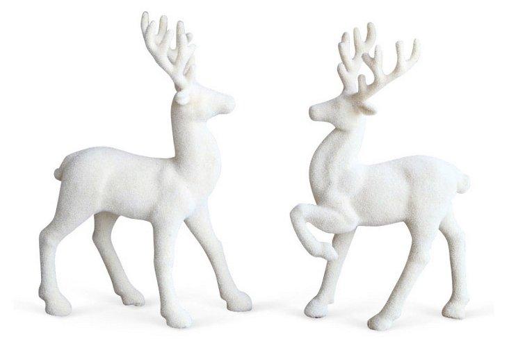 Asst. of 2 Flocked Deer Decor, White