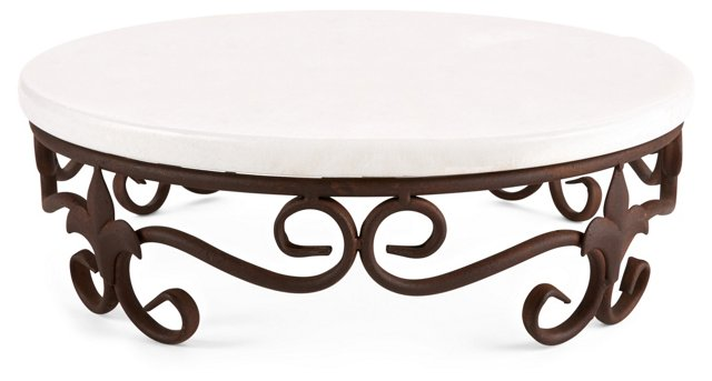 """15"""" Metal Stand w/ Marble Tray, White"""