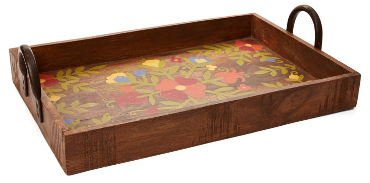 "24"" Wood & Metal Tray, Floral"
