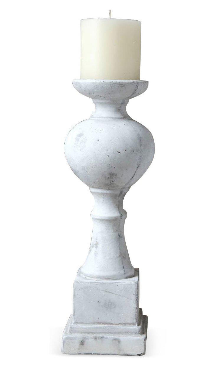 "9"" Cement Pillar Candleholder, White"