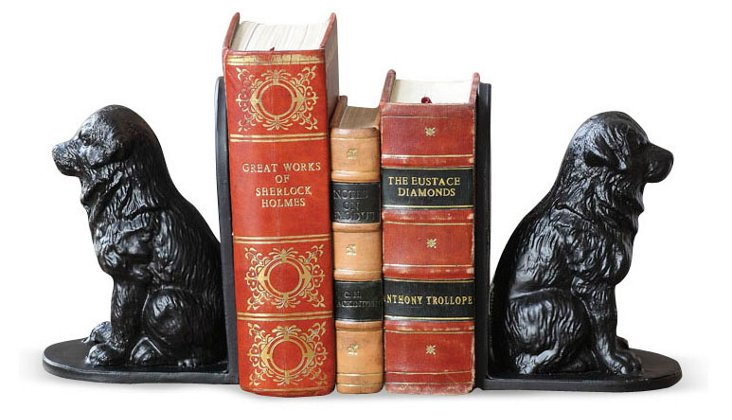 Pair of Iron Dog Bookends, Black